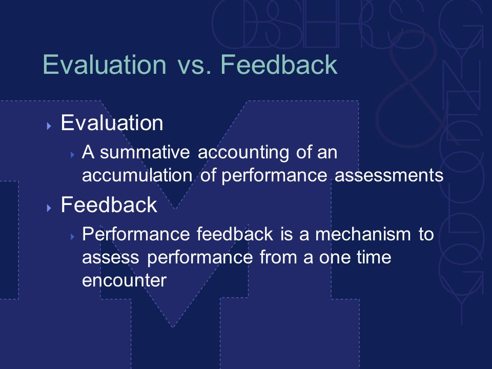 Evaluation vs.