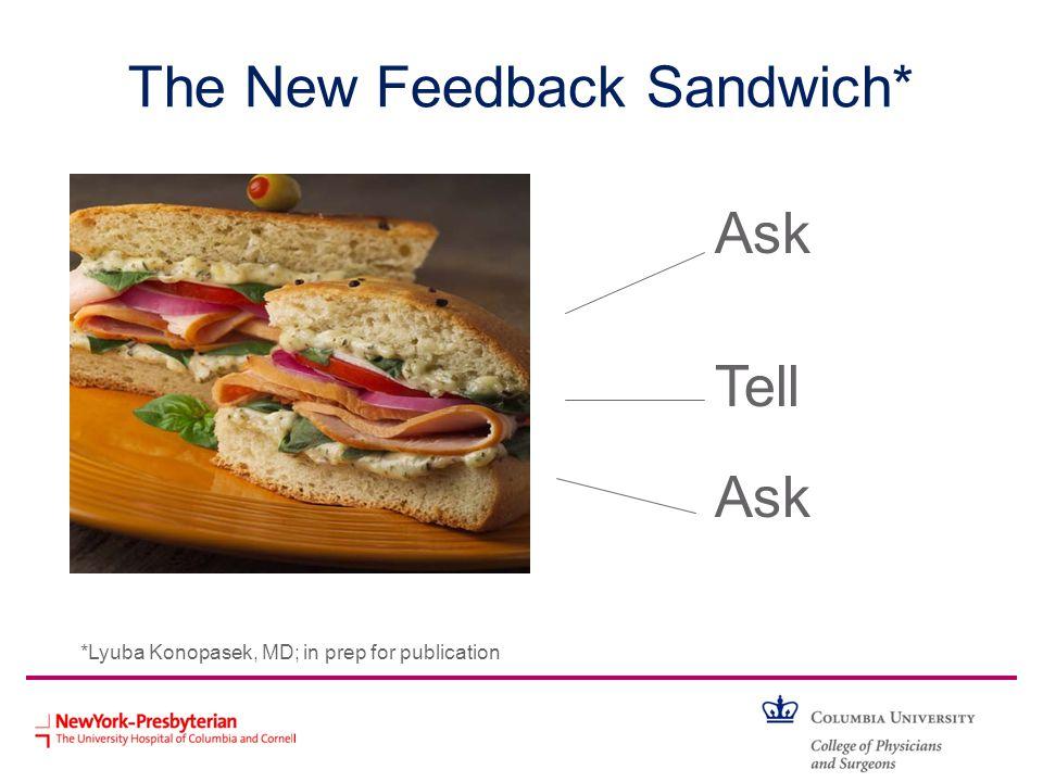 The New Feedback Sandwich* Ask Tell Ask *Lyuba Konopasek, MD; in prep for publication