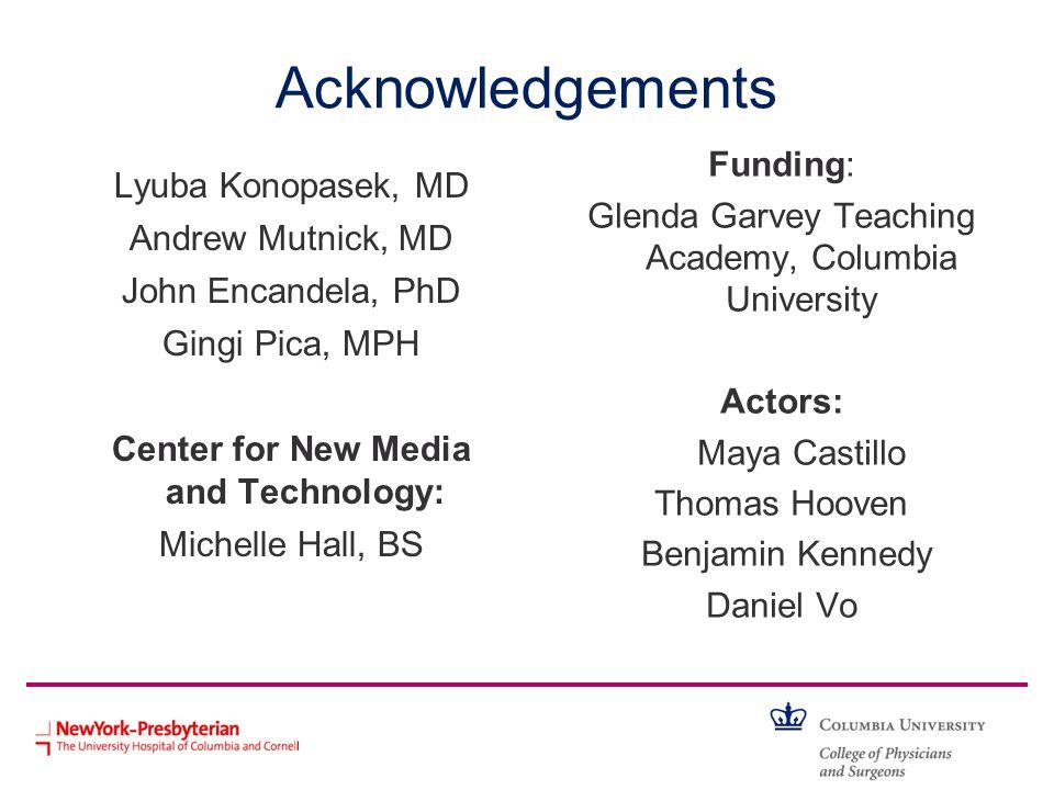 Acknowledgements Lyuba Konopasek, MD Andrew Mutnick, MD John Encandela, PhD Gingi Pica, MPH Center for New Media and Technology: Michelle Hall, BS Fun