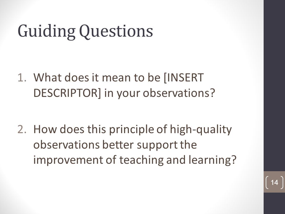 Guiding Questions 1.What does it mean to be [INSERT DESCRIPTOR] in your observations.