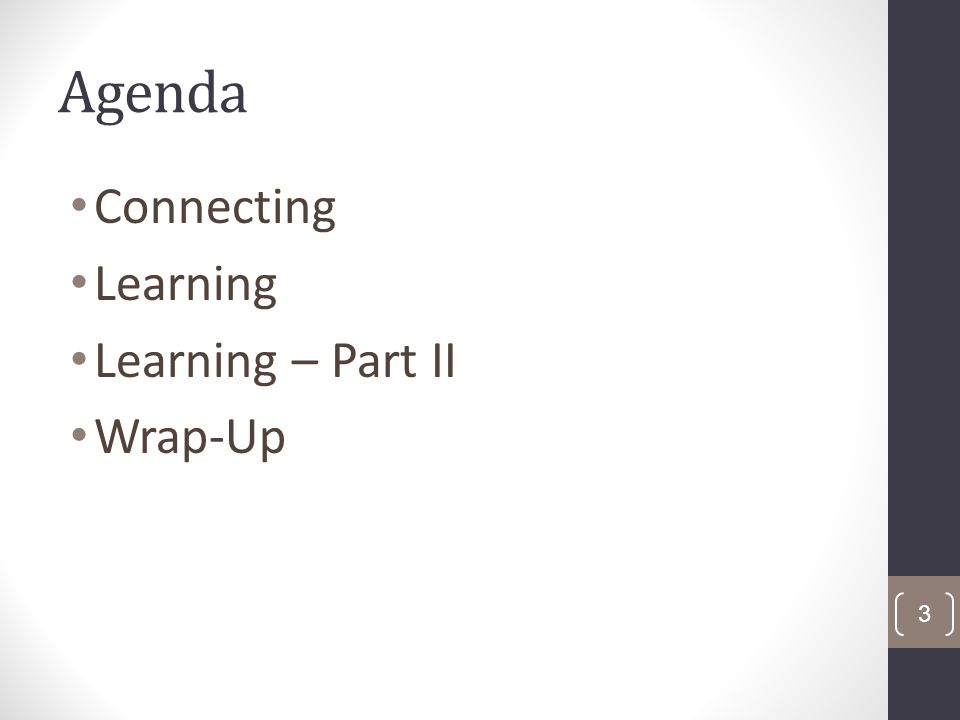 Agenda Connecting Learning Learning – Part II Wrap-Up 3