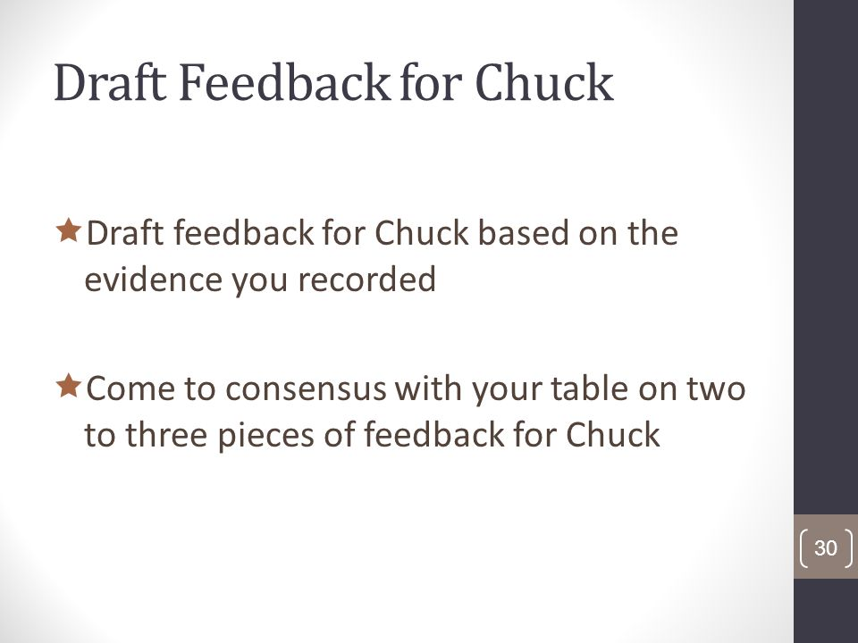 Draft Feedback for Chuck Draft feedback for Chuck based on the evidence you recorded Come to consensus with your table on two to three pieces of feedback for Chuck 30