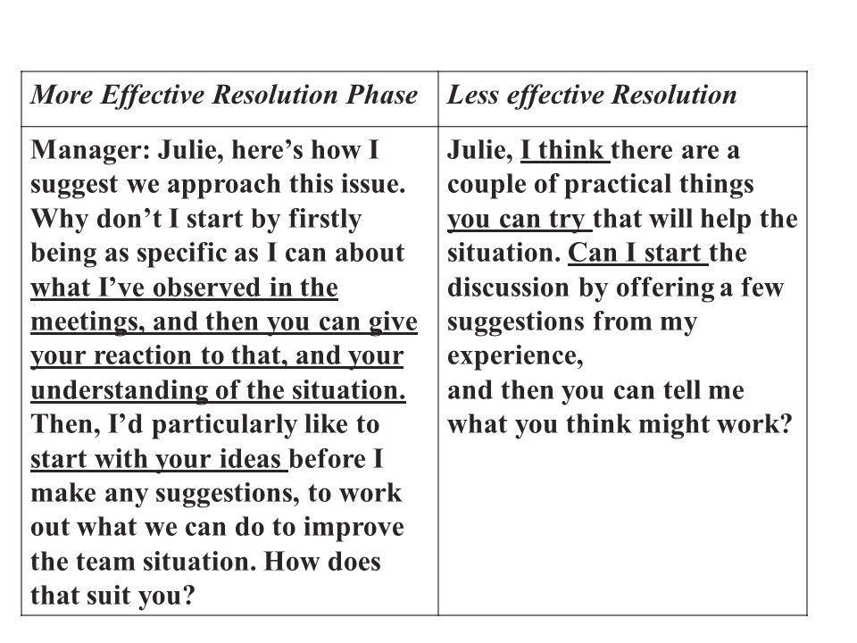 More Effective Resolution PhaseLess effective Resolution Manager: Julie, heres how I suggest we approach this issue.