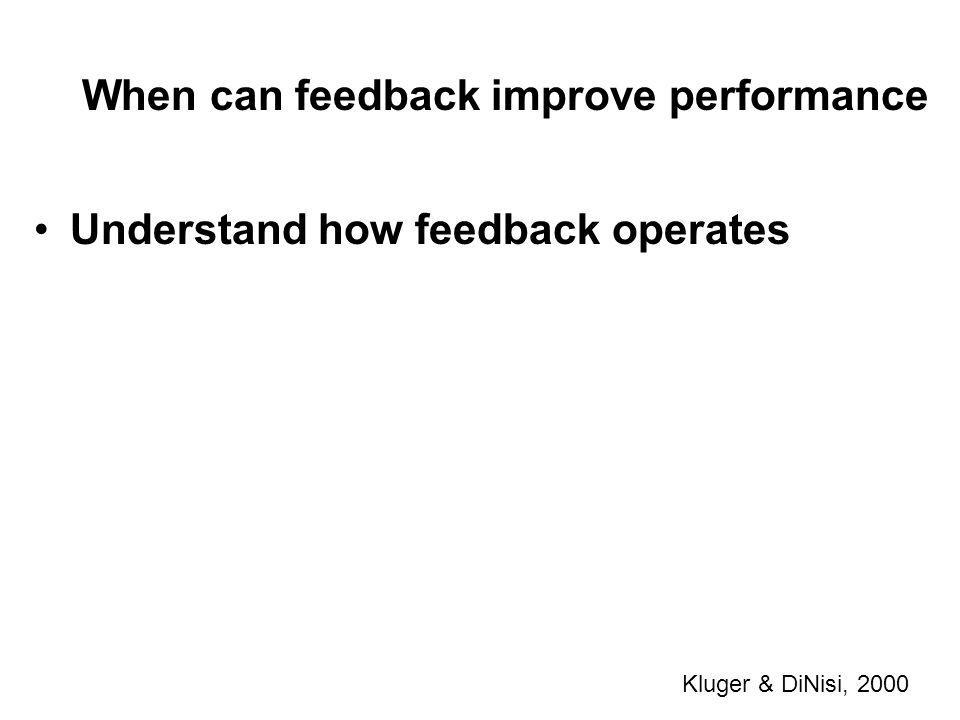 When can feedback improve performance Kluger & DiNisi, 2000 Understand how feedback operates