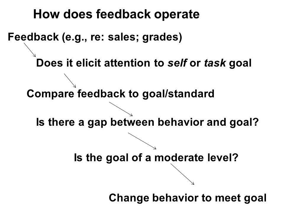 Feedback (e.g., re: sales; grades) Change behavior to meet goal Compare feedback to goal/standard How does feedback operate Is the goal of a moderate level.