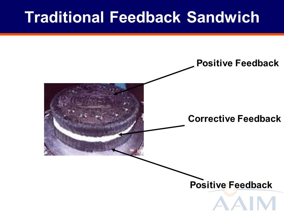 Traditional Feedback Sandwich Positive Feedback Corrective Feedback Positive Feedback