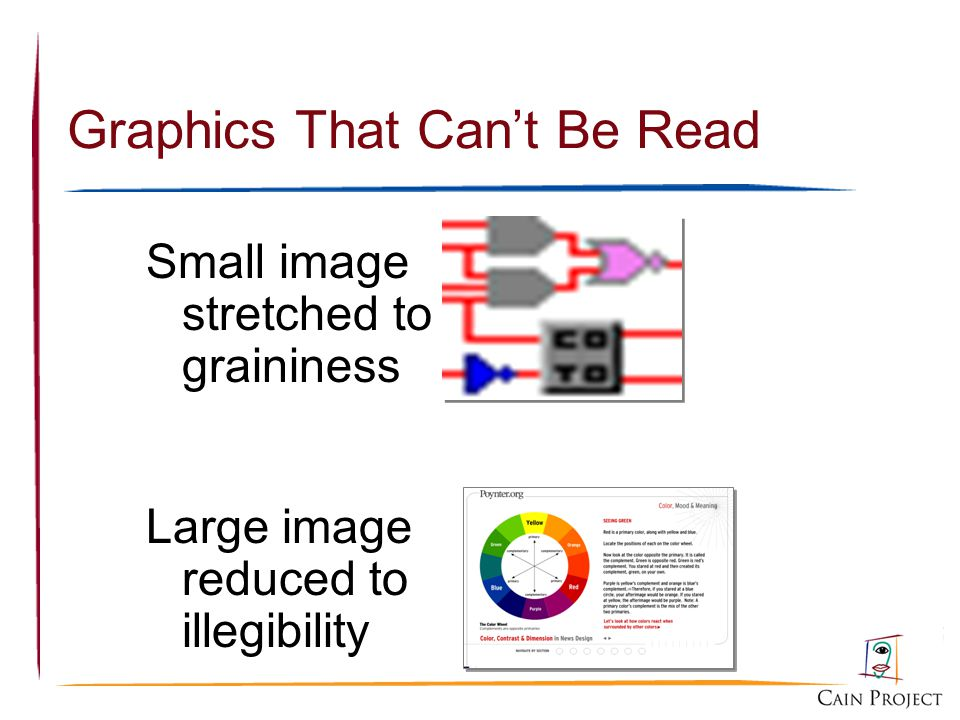 Graphics That Cant Be Read Small image stretched to graininess Large image reduced to illegibility