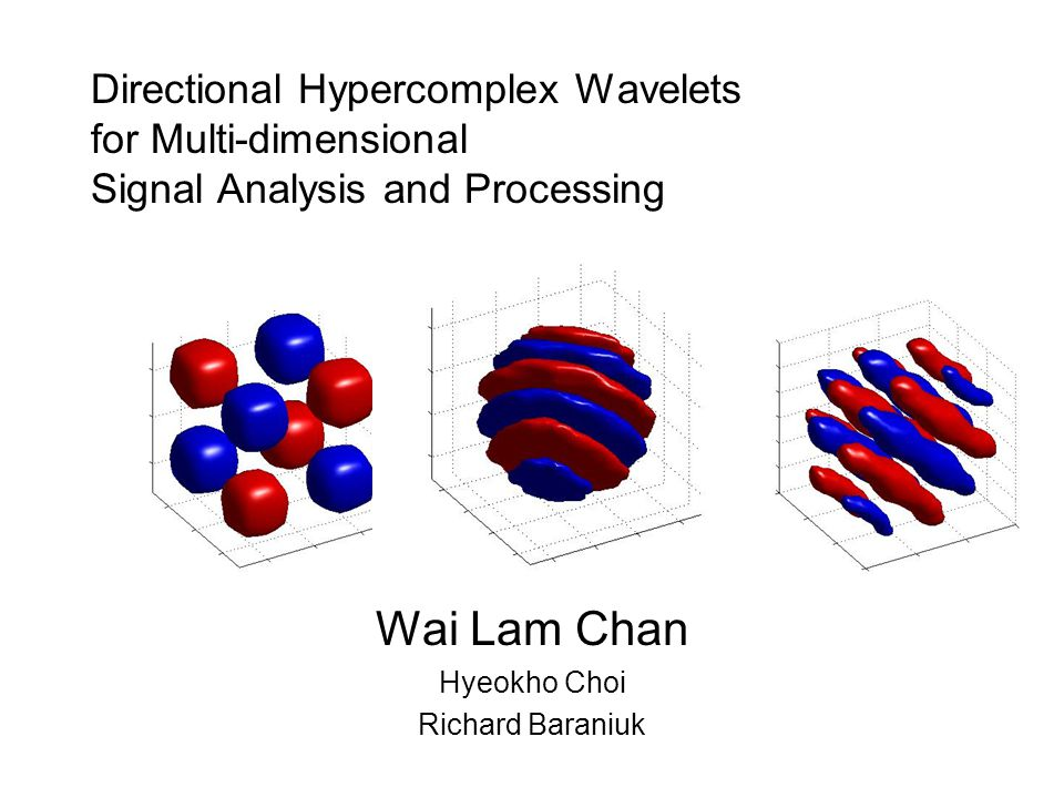 Directional Hypercomplex Wavelets for Multi-dimensional Signal Analysis and Processing Wai Lam Chan Hyeokho Choi Richard Baraniuk