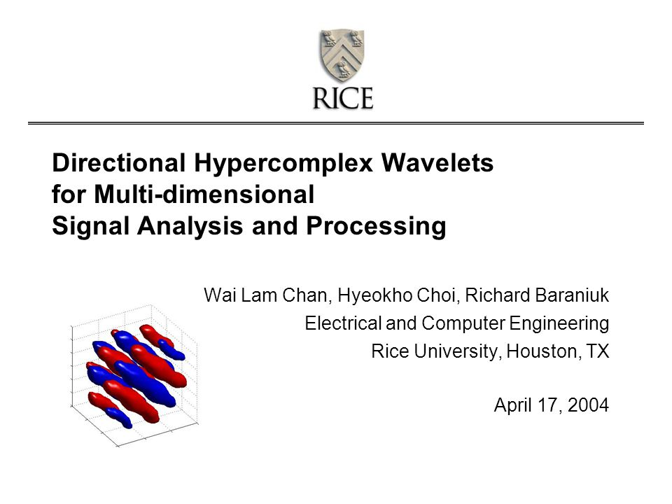 Directional Hypercomplex Wavelets for Multi-dimensional Signal Analysis and Processing Wai Lam Chan, Hyeokho Choi, Richard Baraniuk Electrical and Computer Engineering Rice University, Houston, TX April 17, 2004