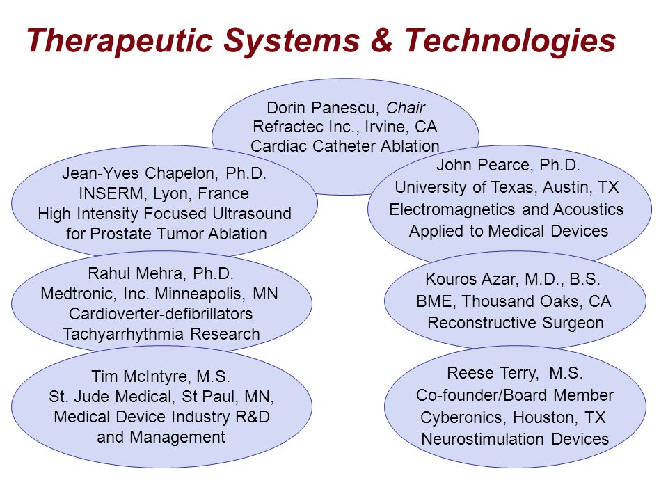 Therapeutic Systems & Technologies Dorin Panescu, Chair Refractec Inc., Irvine, CA Cardiac Catheter Ablation Jean-Yves Chapelon, Ph.D. INSERM, Lyon, F