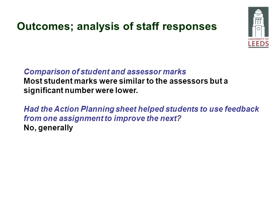 Comparison of student and assessor marks Most student marks were similar to the assessors but a significant number were lower. Had the Action Planning