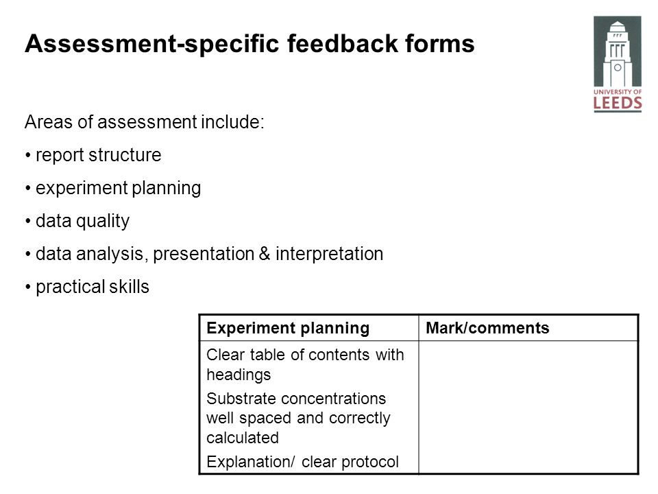 Assessment-specific feedback forms Areas of assessment include: report structure experiment planning data quality data analysis, presentation & interp