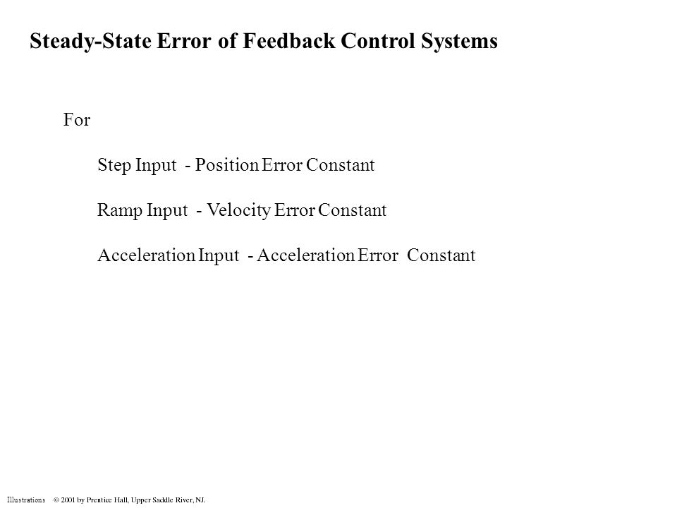 Illustrations Steady-State Error of Feedback Control Systems For Step Input - Position Error Constant Ramp Input - Velocity Error Constant Acceleratio
