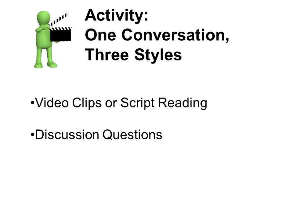 Activity: One Conversation, Three Styles Video Clips or Script Reading Discussion Questions