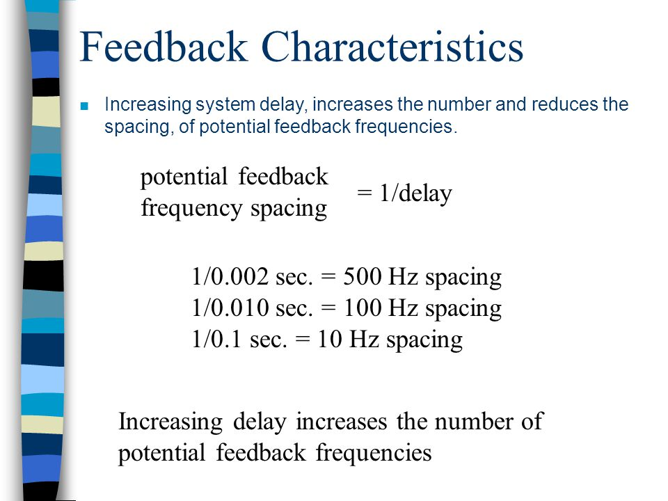 Feedback Characteristics 1/0.002 sec. = 500 Hz spacing 1/0.010 sec.