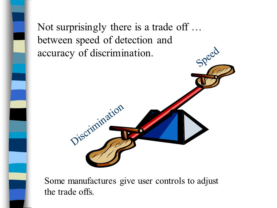 Not surprisingly there is a trade off … between speed of detection and accuracy of discrimination.