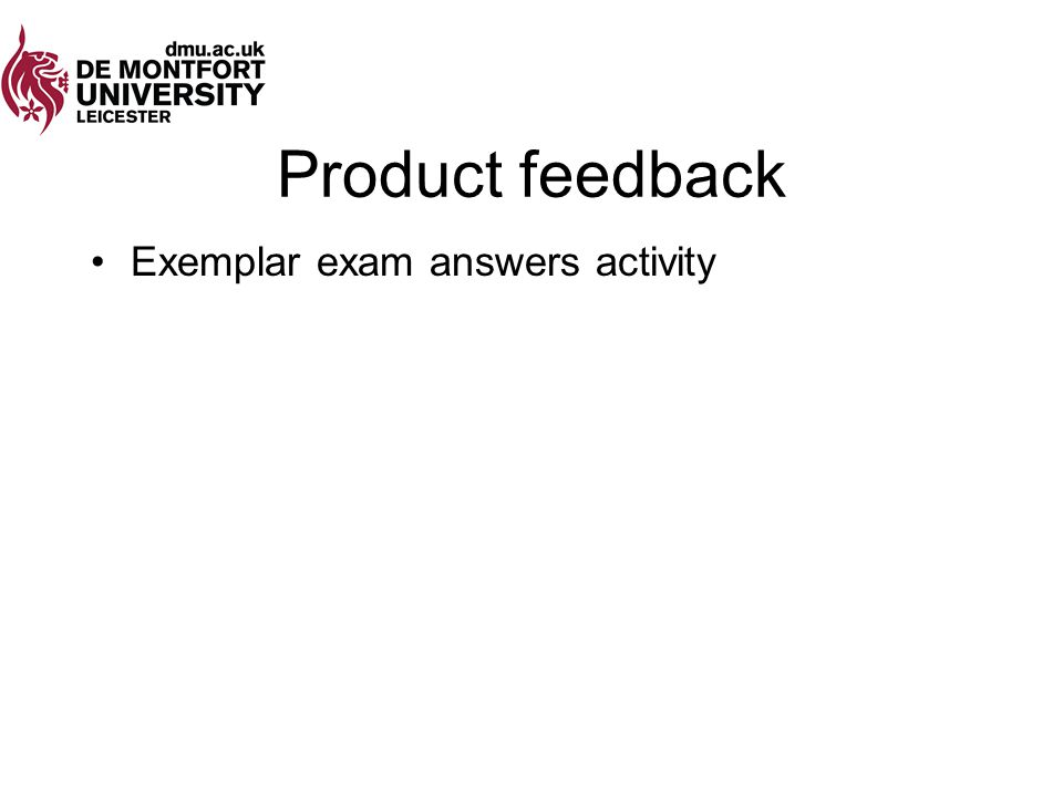 Product feedback Exemplar exam answers activity