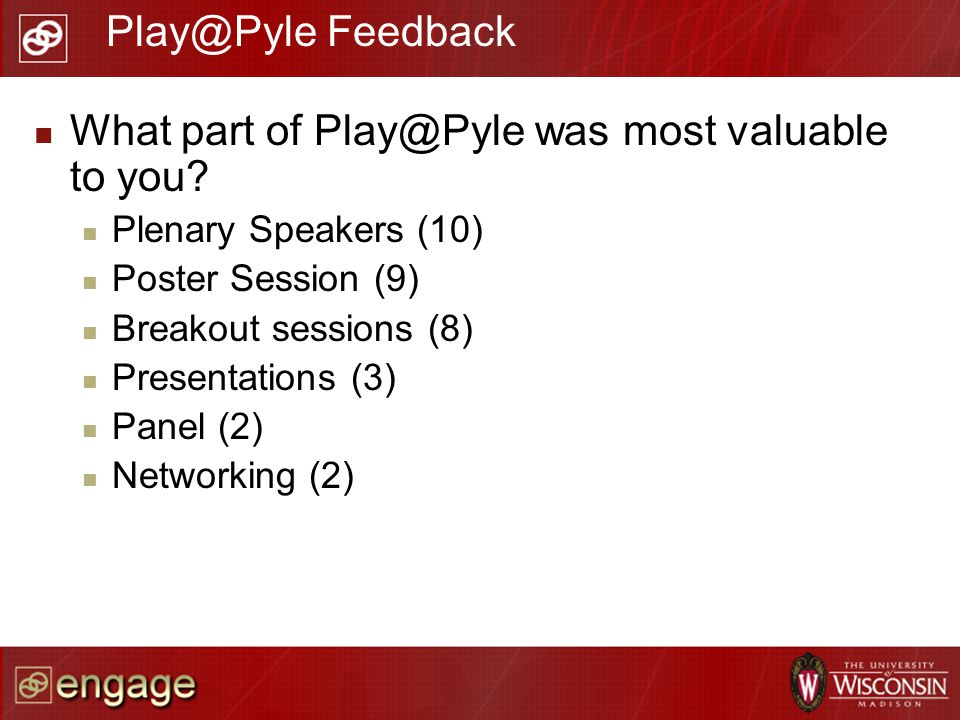 What part of Play@Pyle was most valuable to you? Plenary Speakers (10) Poster Session (9) Breakout sessions (8) Presentations (3) Panel (2) Networking