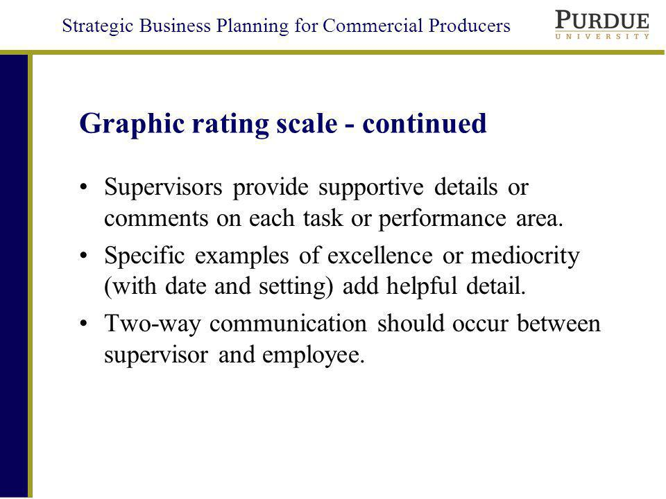 Strategic Business Planning for Commercial Producers Graphic rating scale - continued Supervisors provide supportive details or comments on each task or performance area.