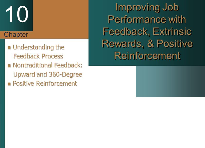 Chapter 10 Improving Job Performance with Feedback, Extrinsic Rewards, & Positive Reinforcement Understanding the Understanding the Feedback Process F