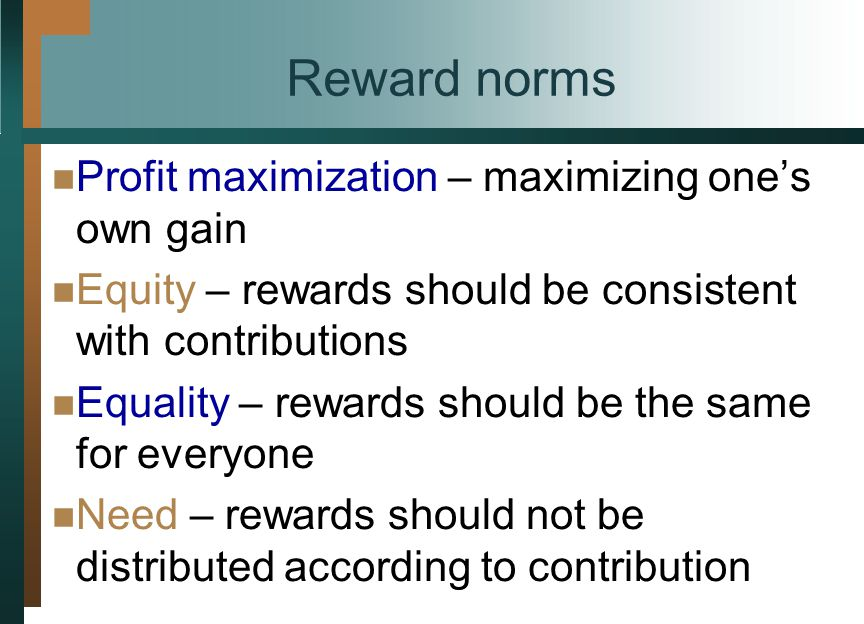 Reward norms Profit maximization – maximizing ones own gain Equity – rewards should be consistent with contributions Equality – rewards should be the