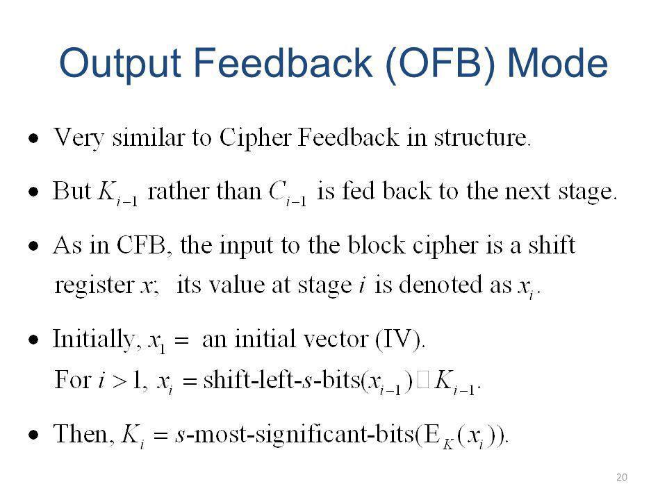 Output Feedback (OFB) Mode 20