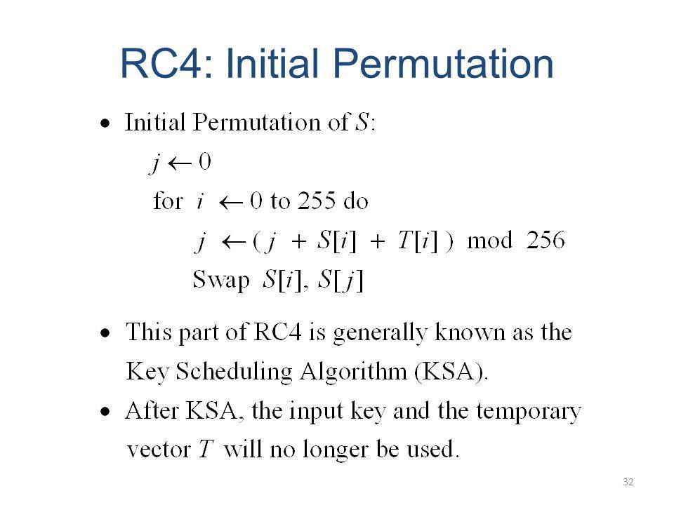 RC4: Initial Permutation 32