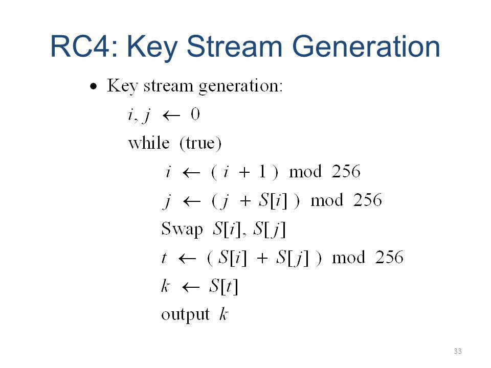 RC4: Key Stream Generation 33
