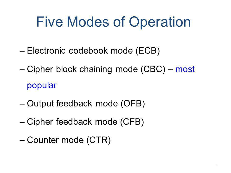 Five Modes of Operation –Electronic codebook mode (ECB) –Cipher block chaining mode (CBC) – most popular –Output feedback mode (OFB) –Cipher feedback