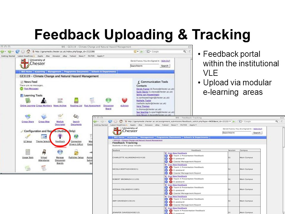 Feedback portal within the institutional VLE Upload via modular e-learning areas Feedback Uploading & Tracking