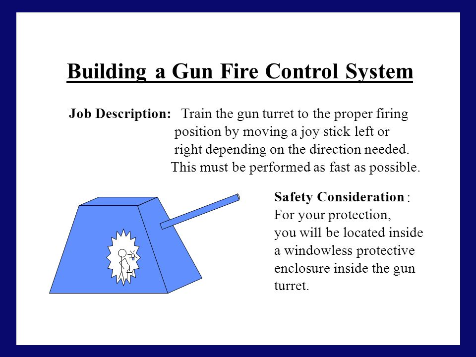 Building a Gun Fire Control System Job Description: Train the gun turret to the proper firing position by moving a joy stick left or right depending o