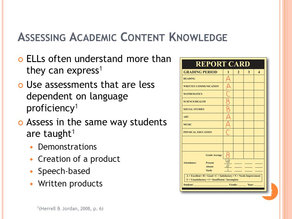 12 A SSESSING A CADEMIC C ONTENT K NOWLEDGE ELLs often understand more than they can express 1 Use assessments that are less dependent on language proficiency 1 Assess in the same way students are taught 1 Demonstrations Creation of a product Speech-based Written products 1 (Herrell & Jordan, 2008, p.