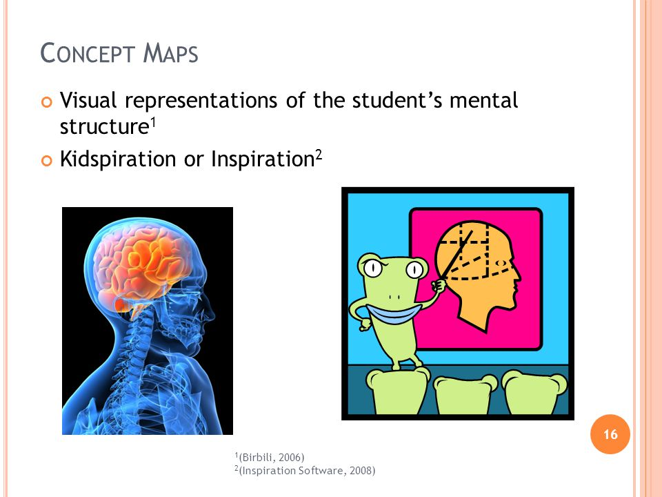 16 C ONCEPT M APS Visual representations of the students mental structure 1 Kidspiration or Inspiration 2 1 (Birbili, 2006) 2 (Inspiration Software, 2