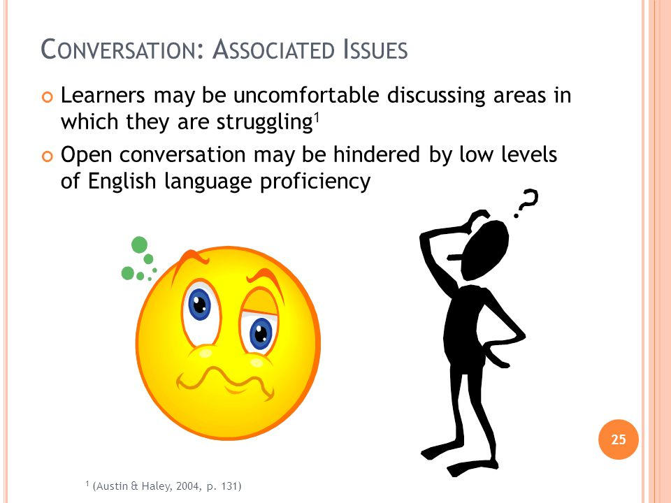 25 C ONVERSATION : A SSOCIATED I SSUES Learners may be uncomfortable discussing areas in which they are struggling 1 Open conversation may be hindered