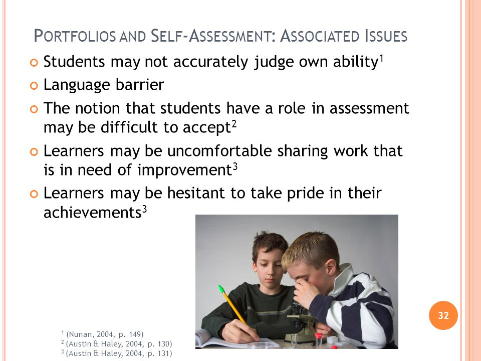 32 P ORTFOLIOS AND S ELF -A SSESSMENT : A SSOCIATED I SSUES Students may not accurately judge own ability 1 Language barrier The notion that students