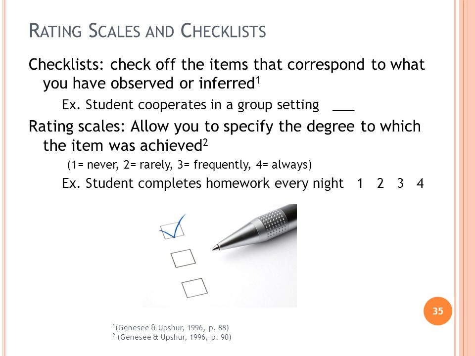 35 R ATING S CALES AND C HECKLISTS Checklists: check off the items that correspond to what you have observed or inferred 1 Ex.