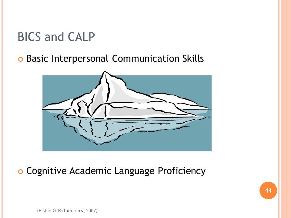 44 (Fisher & Rothenberg, 2007) BICS and CALP Basic Interpersonal Communication Skills Cognitive Academic Language Proficiency