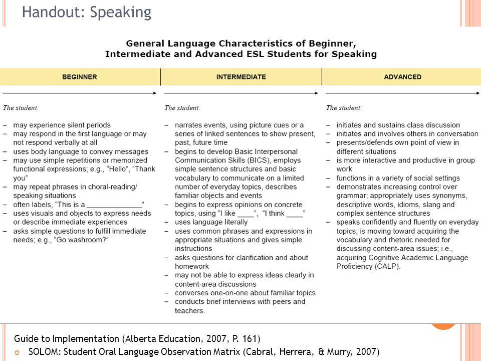 47 Handout: Speaking Guide to Implementation (Alberta Education, 2007, P. 161) SOLOM: Student Oral Language Observation Matrix (Cabral, Herrera, & Mur