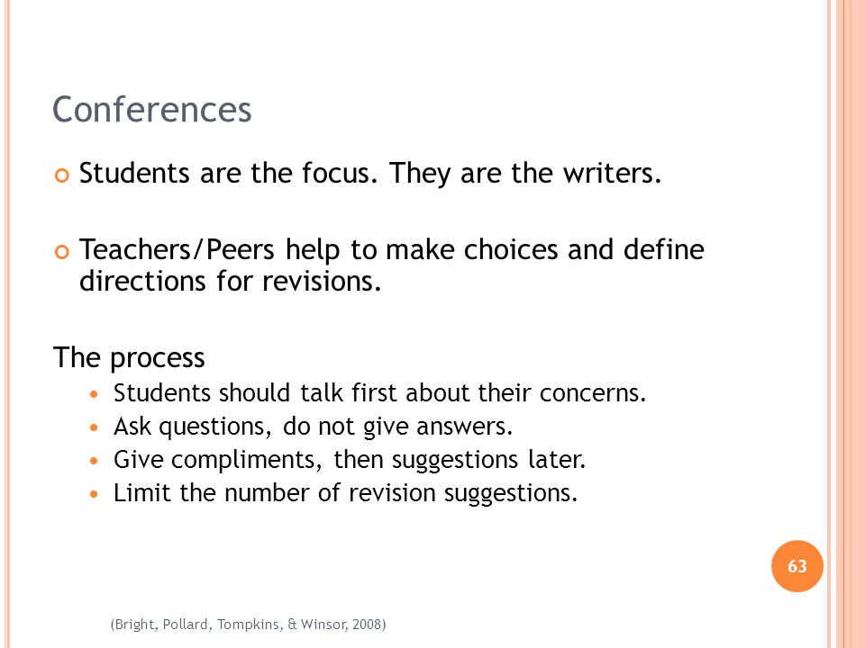 63 (Bright, Pollard, Tompkins, & Winsor, 2008) Conferences Students are the focus. They are the writers. Teachers/Peers help to make choices and defin