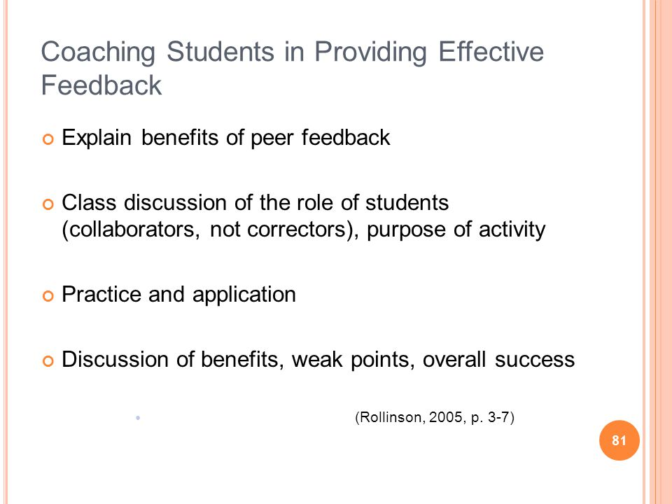 81 Coaching Students in Providing Effective Feedback Explain benefits of peer feedback Class discussion of the role of students (collaborators, not correctors), purpose of activity Practice and application Discussion of benefits, weak points, overall success (Rollinson, 2005, p.