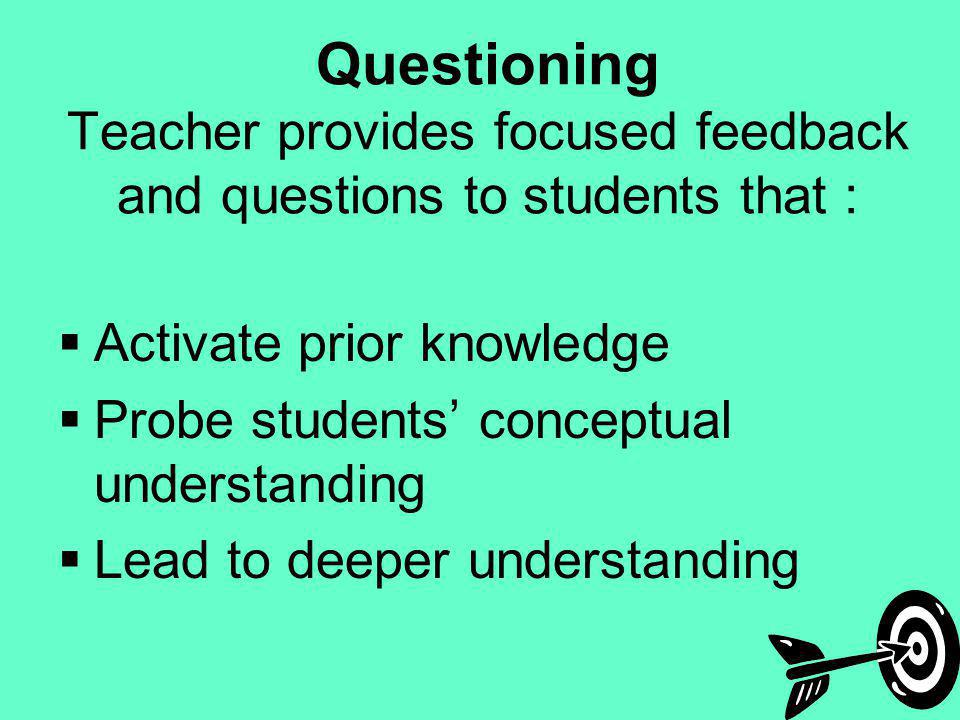 Questioning Teacher provides focused feedback and questions to students that : Activate prior knowledge Probe students conceptual understanding Lead t