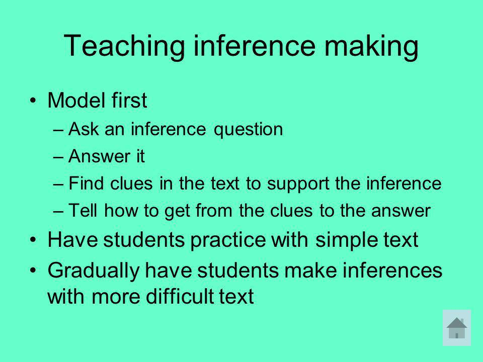 Teaching inference making Model first –Ask an inference question –Answer it –Find clues in the text to support the inference –Tell how to get from the