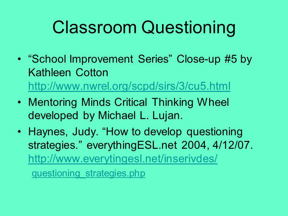 Classroom Questioning School Improvement Series Close-up #5 by Kathleen Cotton http://www.nwrel.org/scpd/sirs/3/cu5.html http://www.nwrel.org/scpd/sir