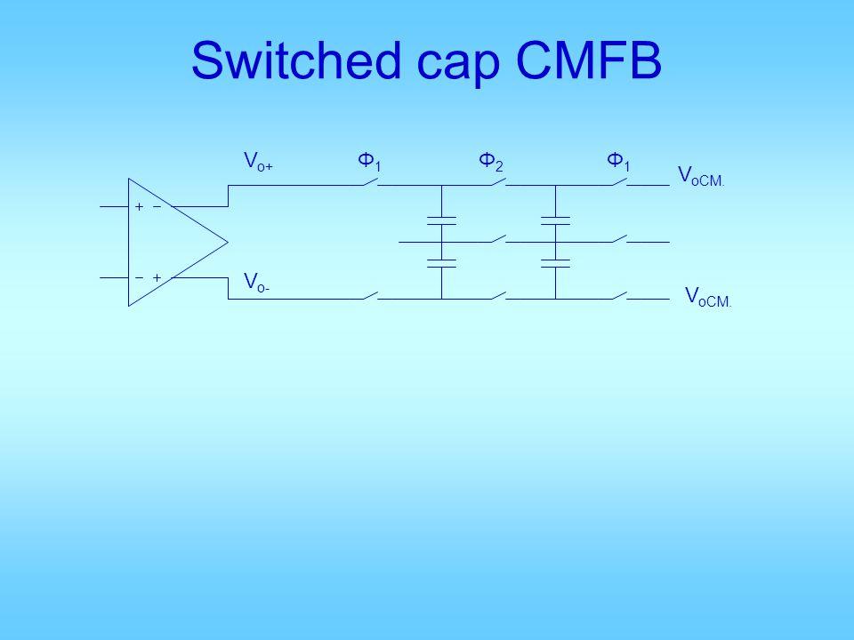 Switched cap CMFB V o+ V o- V oCM. Φ2Φ2 Φ1Φ1 Φ1Φ1