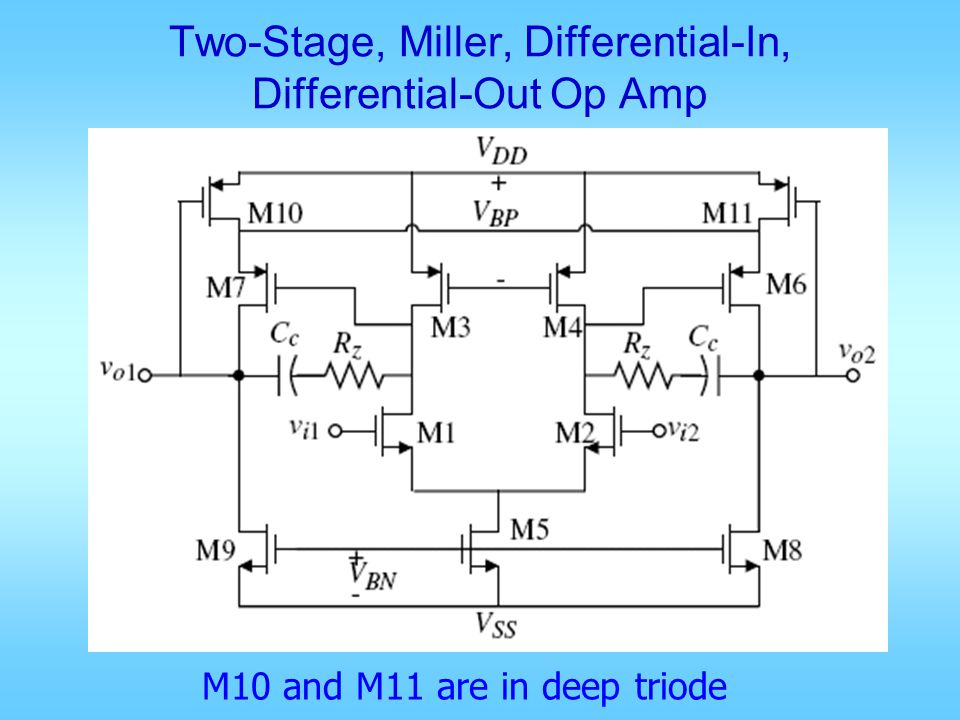 Two-Stage, Miller, Differential-In, Differential-Out Op Amp M10 and M11 are in deep triode