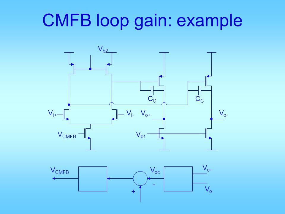 CMFB loop gain: example V b2 V i+ V i- V CMFB V b1 CC V o+ V o- + - V o+ V o- V oc V CMFB