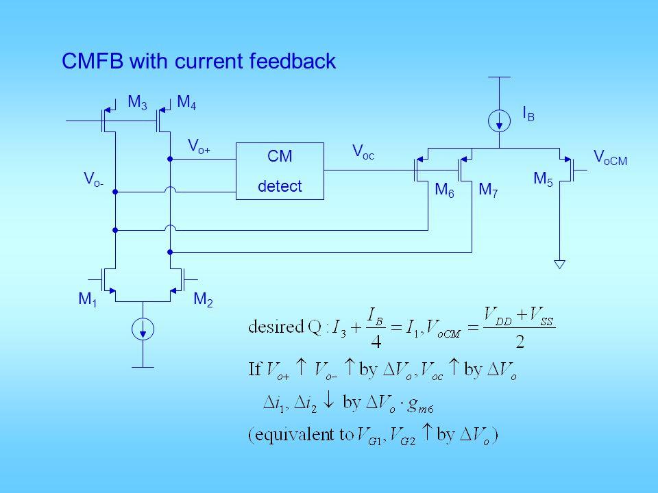 CMFB with current feedback V oCM CM detect V oc V o+ V o- M3M3 M4M4 M1M1 M2M2 M6M6 M7M7 M5M5 IBIB