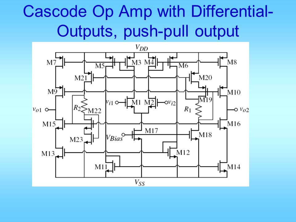 Cascode Op Amp with Differential- Outputs, push-pull output