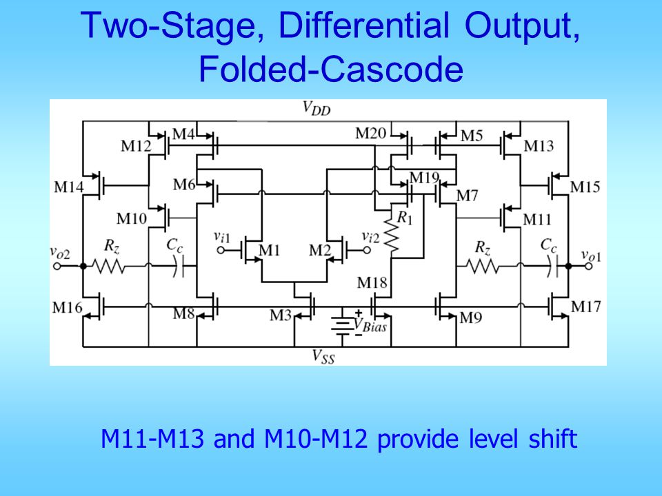 Two-Stage, Differential Output, Folded-Cascode M11-M13 and M10-M12 provide level shift