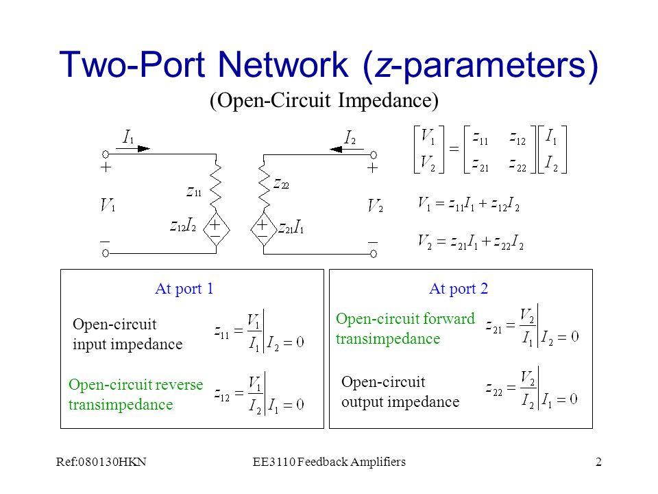 Ref:080130HKNEE3110 Feedback Amplifiers3 Two-Port Network (y-parameters) (Short-Circuit Admittance) Short-circuit input admittance At port 1 Short-circuit reverse transadmittance At port 2 Short-circuit forward transadmittance Short-circuit output admittance